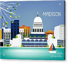 Madison Wisconsin Horizontal Skyline Acrylic Print