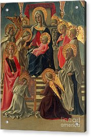 Madonna And Child Enthroned With Angels And Saints Acrylic Print by Fra Filippo Lippi