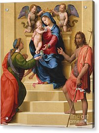 Madonna And Child Enthroned With Saints Mary Magdalene And John The Baptist Acrylic Print