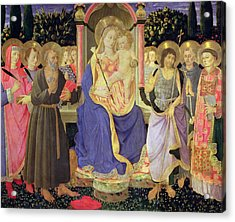 Madonna And Child Enthroned With Saints  Acrylic Print by Master of the Buckingham Palace Madonna