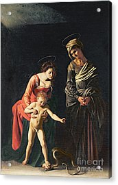 Madonna And Child With A Serpent Acrylic Print by Michelangelo Merisi da Caravaggio