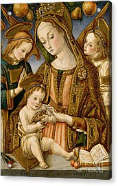 Madonna And Child With Two Angels Acrylic Print