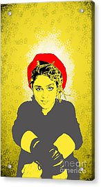 Acrylic Print featuring the drawing Madonna On Yellow by Jason Tricktop Matthews