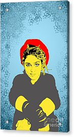 Acrylic Print featuring the drawing Madonna On Blue by Jason Tricktop Matthews