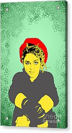 Acrylic Print featuring the drawing Madonna On Green by Jason Tricktop Matthews