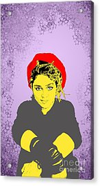 Acrylic Print featuring the drawing Madonna On Purple by Jason Tricktop Matthews