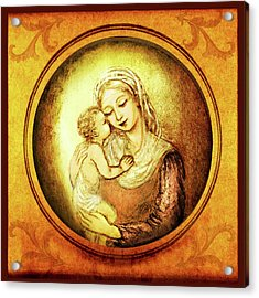 Madonna With The Kissing Child - In Golden Frame Acrylic Print by Ananda Vdovic