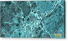 Madrid Abstract Map, Blue Traffic Map, Europe Acrylic Print