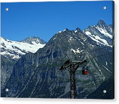 Maennlichen Gondola Calbleway, In The Background Mettenberg And Schreckhorn Acrylic Print