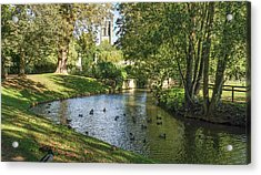 Acrylic Print featuring the photograph Magdalen From The River Cherwell by Joe Winkler