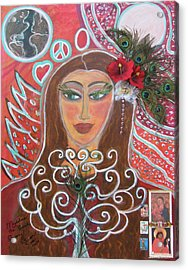 Magdalena The Peacock Gypsy Acrylic Print by Susan Risse