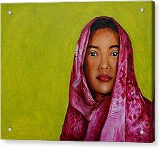 Magenta Girl Acrylic Print by Jun Jamosmos