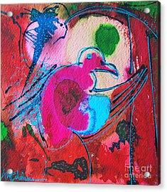 Magenta Marching Bird Acrylic Print by Ana Maria Edulescu