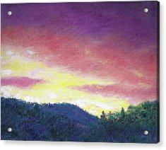Magenta Sunset Oil Landscape Acrylic Print by Judith Cheng