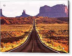 Magestic And Lonesome Road To Monument Valley Acrylic Print by Kim Lessel