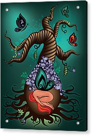 Magic Butterfly Tree Acrylic Print by Serena King