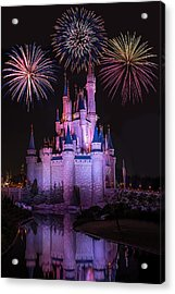 Magic Kingdom Castle Under Fireworks Acrylic Print