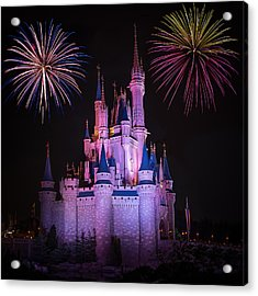 Magic Kingdom Castle Under Fireworks Square Acrylic Print
