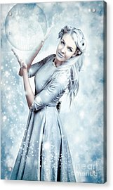 Magic Winter Woman In Luxury Fashion And Makeup Acrylic Print
