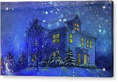 Magical Blue Nocturne Home Sweet Home Acrylic Print