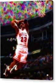 Magical Michael Jordan White Jersey Acrylic Print by Paul Van Scott