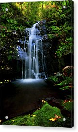 Magical Waterfall Above Spruce Falls In Tremont Smoky Mountains Tennessee  Acrylic Print