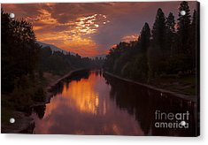 Magnificent Clouds Over Rogue River Oregon At Sunset  Acrylic Print