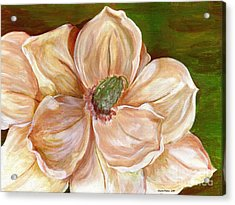 Acrylic Print featuring the painting Magnificent Magnolia - 2 by Sheron Petrie