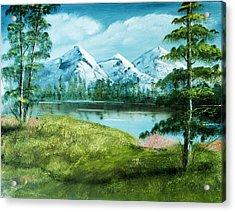 Magnificent Vista - Mountain Landscape Acrylic Print by Barry Jones
