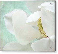 Magnolia Blossom, Soft Dreamy Romantic White Aqua Floral Acrylic Print