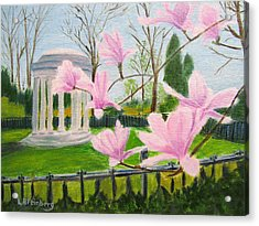 Acrylic Print featuring the painting Magnolia Blossoms At Wagner Park by Linda Feinberg