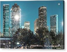 Magnolia City In Blues - Houston Texas Skyline Acrylic Print by Gregory Ballos