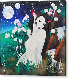 Magnolia Acrylic Print by Tiina Rauk