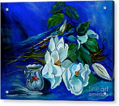 Magnolias And Cream Acrylic Print by Jenny Lee
