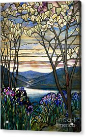 Magnolias And Irises Acrylic Print by Louis Comfort Tiffany