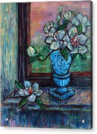 Magnolias In A Blue Vase By The Window Acrylic Print by Xueling Zou