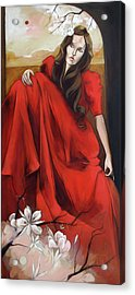 Magnolia's Red Dress Acrylic Print by Jacque Hudson