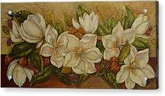 Magnolias Acrylic Print by Tresa Crain