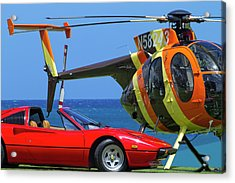Magnum Helicopter And Ferrari Acrylic Print