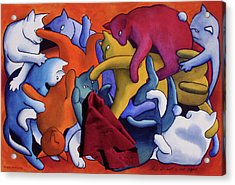Magritte's Cats--this Is Not A Cat Fight Acrylic Print by Eve Riser Roberts