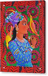 Maharani With Two Birds Acrylic Print by Jane Tattersfield