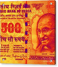 Acrylic Print featuring the digital art Mahatma Gandhi 500 Rupees Banknote by Jean luc Comperat