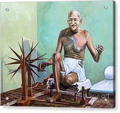 Mahatma Gandhi Spinning Acrylic Print by Dominique Amendola