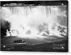Maid Of The Mist Boat Below The American And Bridal Veil Falls Niagara Falls Ontario Canada Acrylic Print by Joe Fox