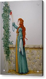 Maiden And The Rose Acrylic Print by Theresa Higby