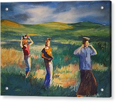 Maidens Three Acrylic Print by Becky Chappell
