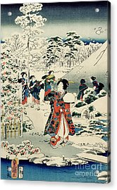 Maids In A Snow Covered Garden Acrylic Print by Hiroshige