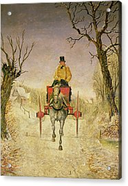 Mail Cart Christmas Acrylic Print by R R Ripley