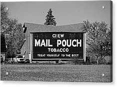 Acrylic Print featuring the photograph Mail Pouch Tobacco In Black And White by Michiale Schneider
