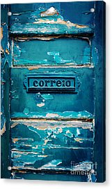 Mailbox Blue Acrylic Print by Carlos Caetano
